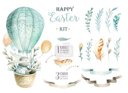 Hand drawn watercolor happy easter set with bunnies design.Rabb