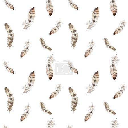 Photo pour Les plumes se répètent. Fond aquarelle avec illustration transparente. Aquarelle design organique. Texture boho sans couture avec plumes dessinées à la main. Couleurs vives . - image libre de droit