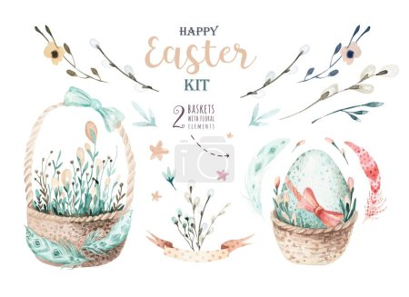 Hand drawing easter watercolor basket with leaves, branches and