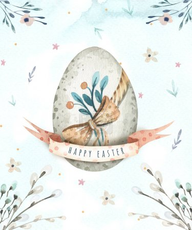 Hand drawing easter watercolor eggs with leaves, branches and fe