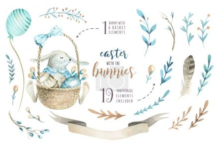 Hand drawn watercolor happy easter set