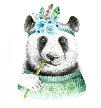 Watercolor panda illustration.