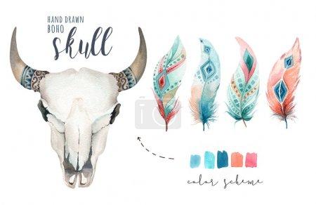 Watercolor bohemian cow skull