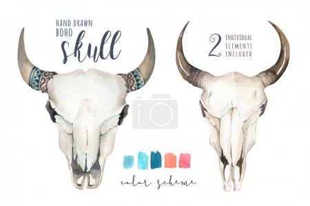 Watercolor bohemian cow skulls