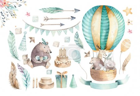 Cute animals nursery on balloon