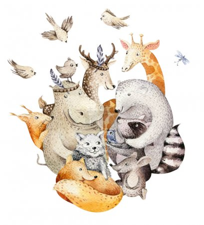 Photo for Cute family.  baby fox, deer animal nursery cat, giraffe, squirrel, and bear isolated illustration. Watercolor boho raccon drawing, watercolour, hippopotamus image Perfect for nursery posters, patterns - Royalty Free Image
