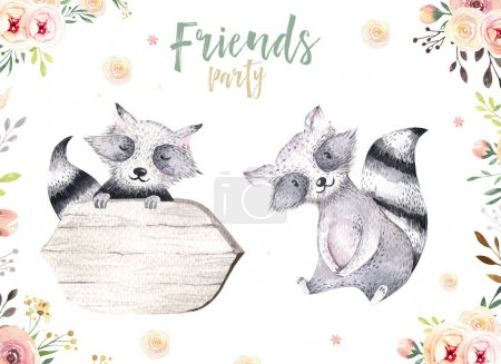 Photo for Cute baby raccons isolated illustration for children. Bohemian watercolor boho forest raccons drawing, watercolour image. Perfect for nursery posters, patterns. Birthday invite. - Royalty Free Image
