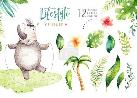 Photo pour Animal hippopotame aquarelle dessinée de main. Boho pépinière yoga pratique hippo illustrations, arbre de la jungle, les tendance art Brésil. Parfait pour la conception de tissu. Aloha collection. - image libre de droit