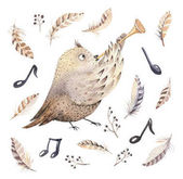 watercolor owl playing music
