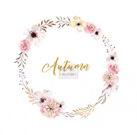 Watercolor floral boho flower wreath.