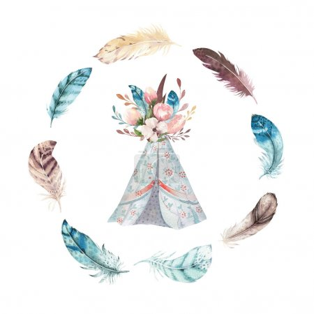 Photo pour Tipis tribal aquarelle du dessinés à la main, tente de camping blanc isolé. Traditionnel ornement native d'Amérique Boho. Tipi indien avec des flèches et des plumes - image libre de droit