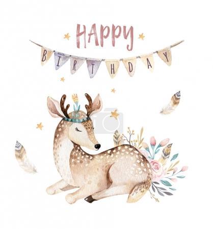 Photo pour Invitation de fête d'anniversaire avec bébé cerf mignon animal.Watercolor forêt boho dessin animé - image libre de droit