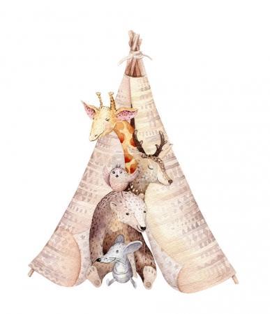 Photo pour Jolie girafe de bébé, souris pépinière de cerfs et ours illustration isolée conception de bébé. Aquarelle boho forêt dessin animé Anniversaire patry invitation Parfait pour les affiches de pépinière, patrons - image libre de droit