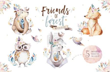 Photo pour Mignon aquarelle animaux de la forêt bohème pour la maternelle - image libre de droit