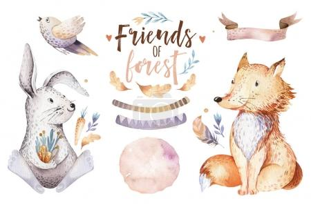 Photo for Cute watercolor bohemian forest animals for kindergarten - Royalty Free Image