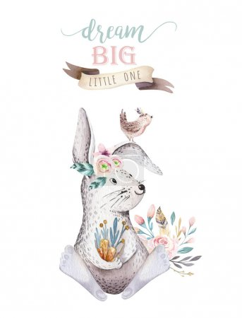 Photo for Cute bohemian baby cartoon rabbit animals for kindergarten, woodland nursery isolated bunny forest illustration for children - Royalty Free Image