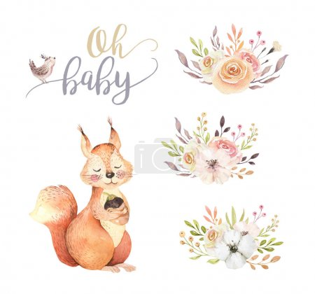 Photo pour Dessin animé mignon aquarelle de l'écureuil tenant gland - image libre de droit