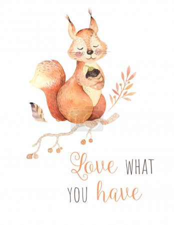 Cute watercolor baby poster with squirrel and inscription. Hand-drawn invitation template