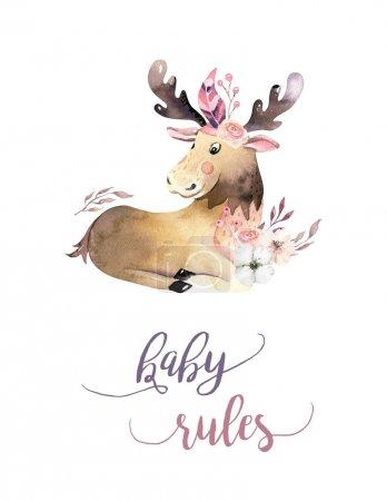 Cute watercolor bohemian baby moose animal poster