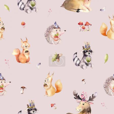 Watercolor seamless pattern of cute baby cartoon hedgehog, sparrow, squirrel and moose animal