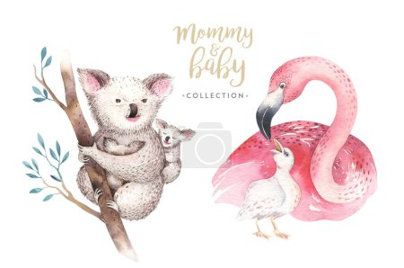 Watercolor illustration with cute mommy flamingo a...