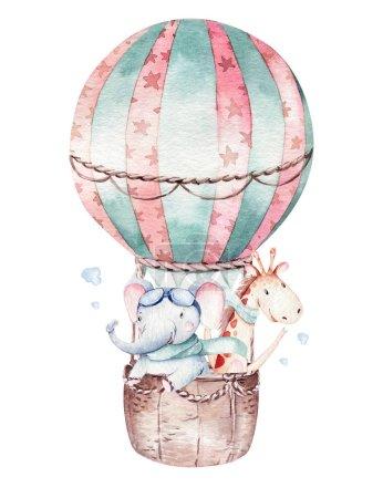 Photo pour Ballon aquarelle ensemble bébé dessin animé pilote mignon illustration d'aviation. ballons de transport du ciel avec girafe et éléphant, koala, ours et oiseau, nuage. enfant bébé garçon douche illustration - image libre de droit
