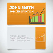 Business card print template with income growth chart logo Easy edit Marketer Stockbroker Stationery desigBusiness card print template with income growth chart logo Easy edit Marketer Stockbroker Stationery design concept Vector illustration