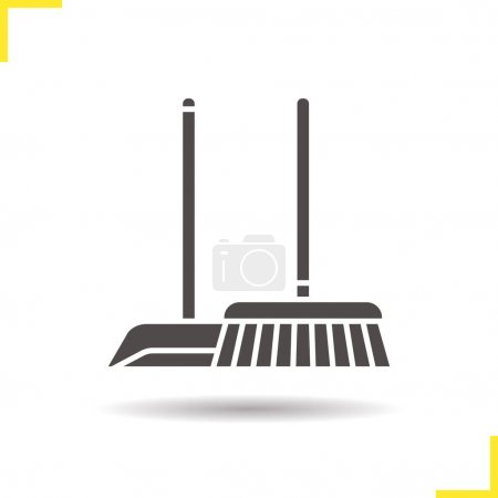 Illustration for Cleaning service icon. Drop shadow silhouette symbol. Mop and dustpan. Negative space. Vector isolated illustration - Royalty Free Image
