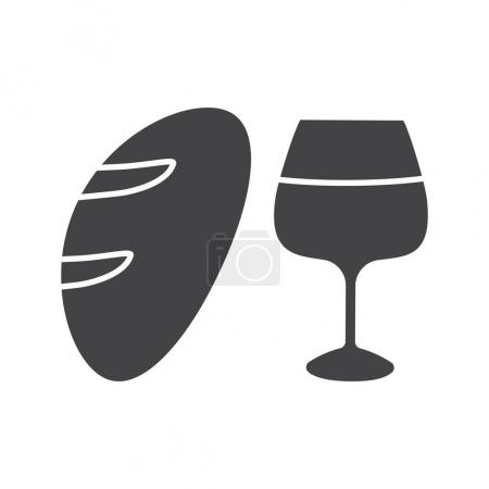 Wine and bread glyph icon