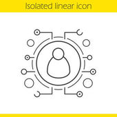 User linear icon Thin line illustration Contour symbol Personal data Networking Vector isolated outline drawing
