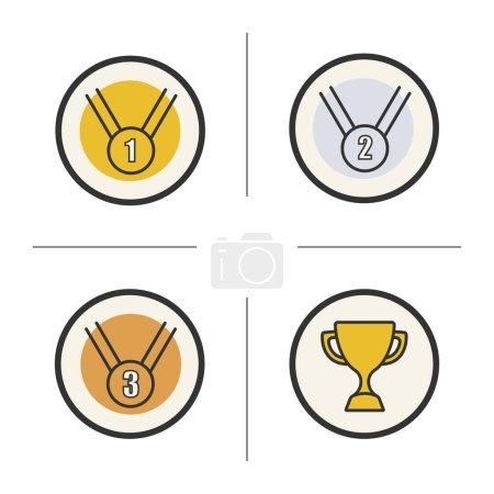 Competition rewards  icons set