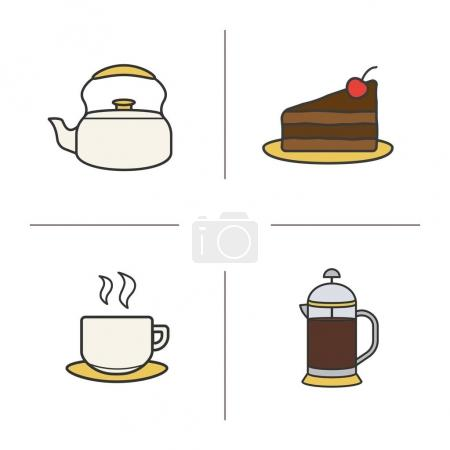Tea and coffee color icons set