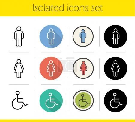 WC door icons set