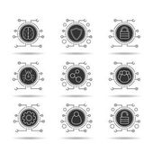 Cyber security icons set Cloud computing Neural networks user group digital connections network settings access denied and granted admin Vector white silhouettes illustrations in black circles