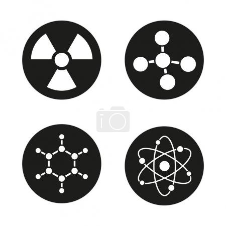 Chemistry and physics icons set