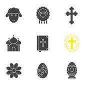 Easter glyph icons set April 16 silhouette symbols Flower church Holy Bible Easter eggs lambs and crosses Vector isolated illustration