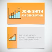 Business card print template with income growth chart logo Easy edit Marketer Stockbroker Analyst Stationery design concept Vector illustration