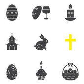 Easter glyph icons set April 16 silhouette symbols Wine and bread cross church Easter bunny eggs in basket cake with candle Vector isolated illustration
