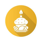 Easter eggs cake and candle Flat design long shadow icon Vector silhouette symbol