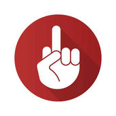 Middle finger up flat design long shadow icon Flipping off hand gesture Vector silhouette symbol