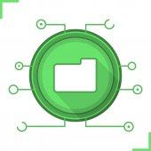 Web storage flat design long shadow icon Cloud computing Folder in microchip pathways Vector silhouette symbol