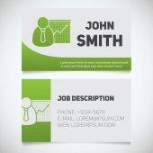 Business card print template with presentation graph logo Easy edit Marketer Stockbroker Jobber Analyst Stationery design concept Vector illustration