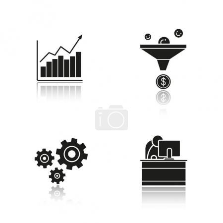 Business drop  icons set