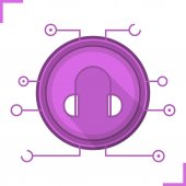 Digital music concept flat design long shadow icon Headphones in microchip pathways symbol Vector silhouette symbol