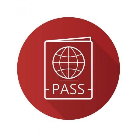 Illustration pour Passeport international plat linéaire ombre longue icône. Carte de voyage avec panneau globe. Symbole de ligne vectorielle - image libre de droit