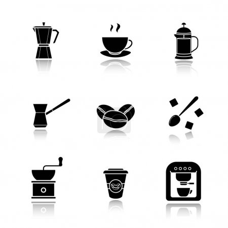 Coffee drop icons set