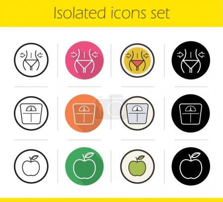 Dieting icons set