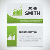 Business card print template with income growth chart logo Easy edit Marketer Stockbroker Stationery design concept Vector illustration