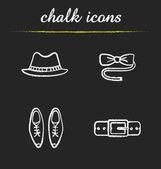 Men's accessories chalk icons set Homburg hat butterfly tie classic shoes leather belt Isolated vector chalkboard illustrations