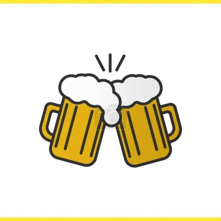 Illustration pour Toasting icône de couleur de verres à bière. À la tienne. Deux verres à bière mousseux. Illustration vectorielle isolée - image libre de droit